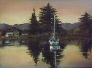 "Deep Bay Dusk 12"" X 16"" oil"